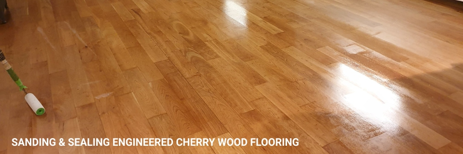 Engineered Cherry Flooring Sanding Sealing