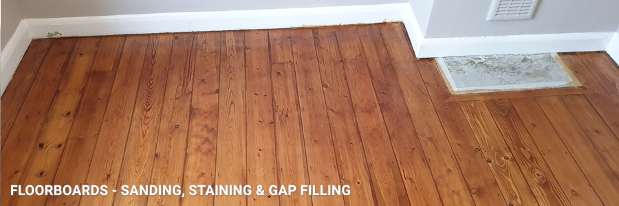 Floorboards Sanding Staining Gap Filling