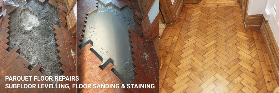 parquet floor repair with sub-floor leveling included