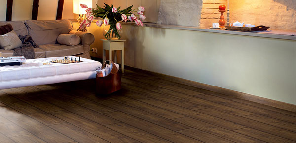 engineered wood flooring in dark shade