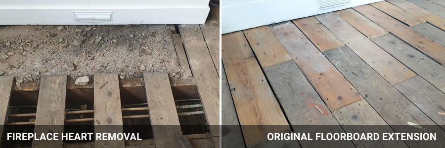 Original Floorboard Repairs - Fireplace Heart Removal