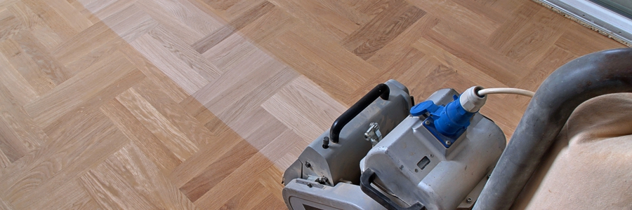 parquet flooring during the sanding process