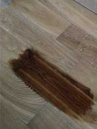 A sample from dark stain on hardwood plank