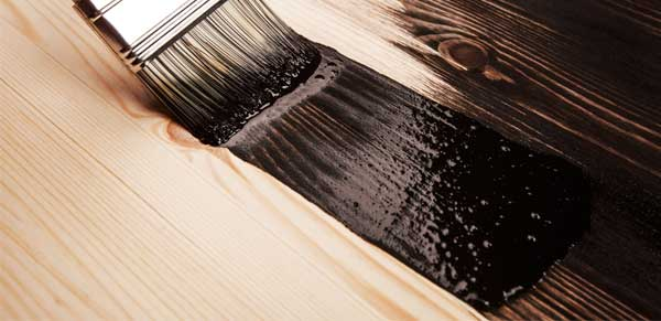 Wood floor surface during paint application